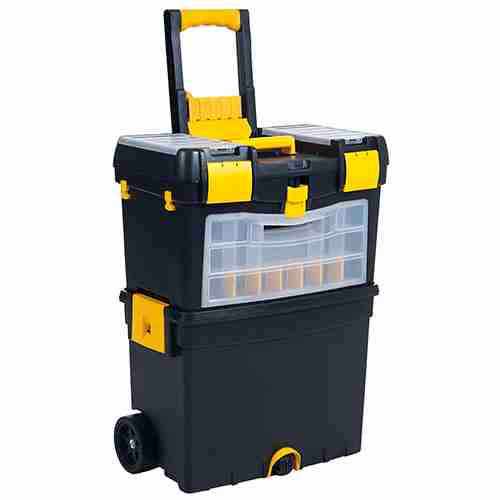 Buy Heavy duty rolling toolbox with foldable comfort handle & removable top storage
