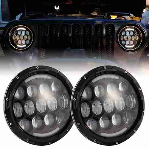 DOT Approved 90W 7 inch Round Cree LED Headlight with DRL High Low Beam