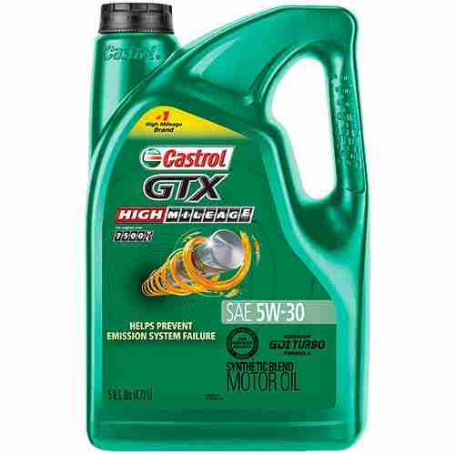 Castrol 03102 GTX High Mileage 5W 30 Synthetic Blend Motor Oil
