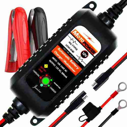 MOTOPOWER MP00205A 12V 800mA Fully Automatic Battery Charger Maintainer Rescue and Recover Batteries