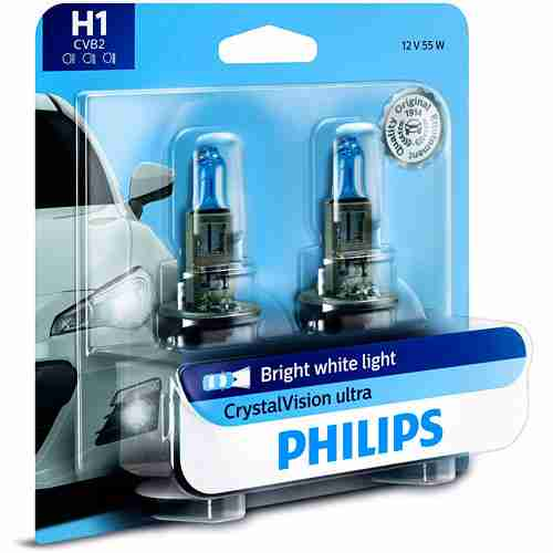 Philips H1 CrystalVision Ultra Upgrade Bright White Headlight Bulb
